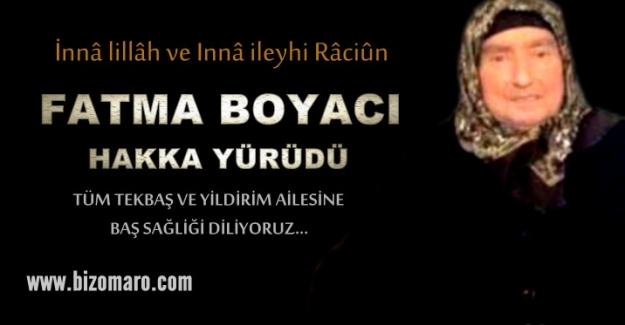 Fatma Boyaci Vefat etmiştir