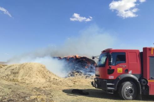 Kulu'da Çıkan yangında 10 bin saman balyası yandı