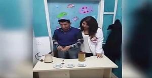 Irmak Ayhan ile Öğrencimiz Cebrail Bulduk türk kahvesi yaptılar