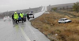 Köpeğe çarpan otomobil şarampole yuvarlandı: 4 yaralı