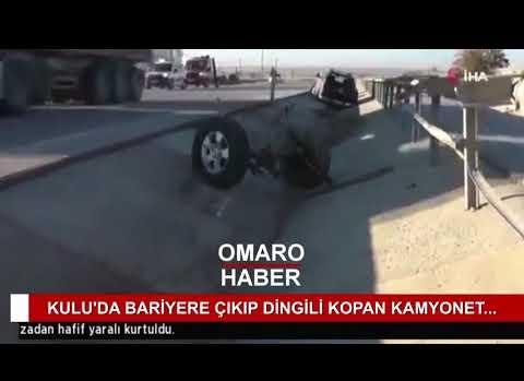 Bariyere Çıkıp Dingili Kopan Kamyonetin Sürücüsü Hafif Yaralı Kurtuldu